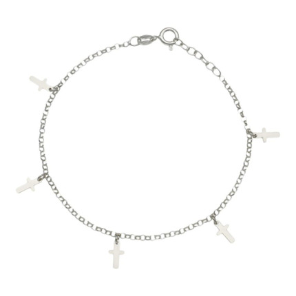 TOBILLERA MINI CHARMS CRUCES PLATA 925MM